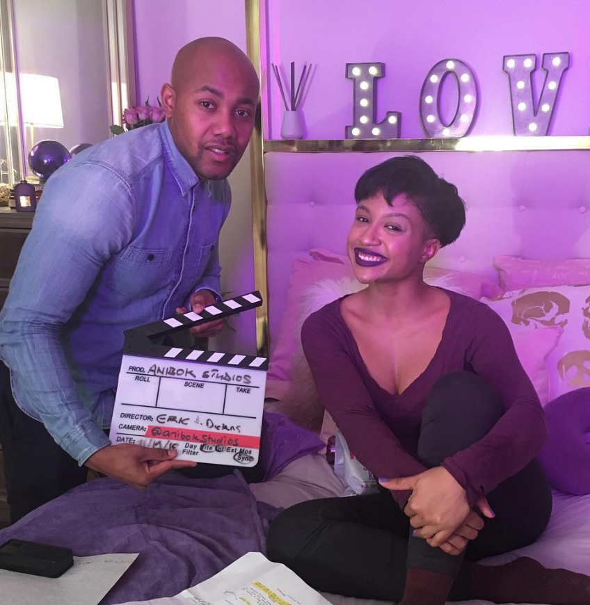 Make Up and Break Up creator Eric Dickens with actress Nicolette Ellis.